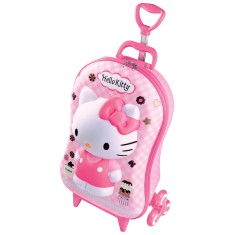 Mochila com Rodinhas Escolar Max Toy by Diplomata Hello Kitty 3D